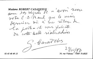 Reactie van de pianiste Gaby Casadesus (vriendin van Ravel)